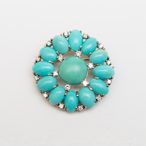 Bailey, Banks & Biddle Platinum, Turquoise and Diamond Brooch