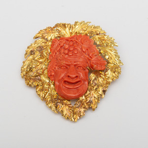 Buccellati 18k Gold Carved Coral Cameo Brooch