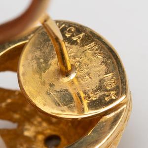Van Cleef & Arpels 18k Gold and Coral Bead Pendant Earrings