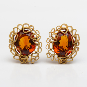 Andrew Grima 18k Gold and Madeira Earclips