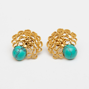 Pair of 18k Gold and Turquoise Earclips, in the Style of Andrew Grima
