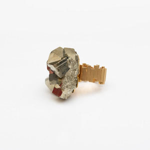 18k Gold and Pyrite Ring, in the Style of Andrew Grima