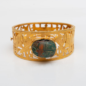 18k Gold and Steatite Scarab Bangle