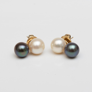 Pair of Black and White Cultured Pearl Earrings