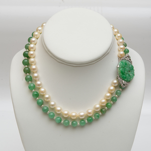 Jade Bead and Cultured Pearl Necklace