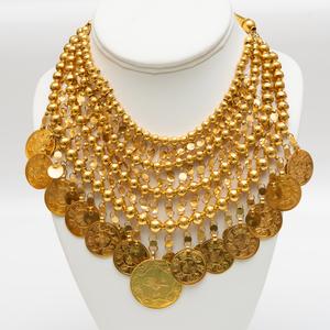 Middle Eastern Gold Fringe Necklace