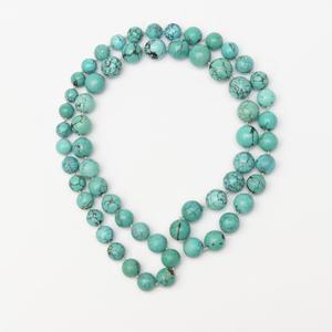 Long Turquoise Matrix Bead Necklace