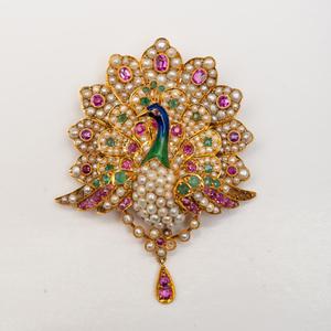 Jeweled 18k Gold Peacock Pendant Pin