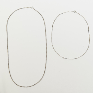 14k White Gold Chain Necklace and an 18k White Gold Chain Necklace