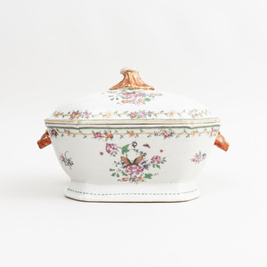 Chinese Export Famille Rose Porcelain Tureen and Cover with Rabbit Head Handles