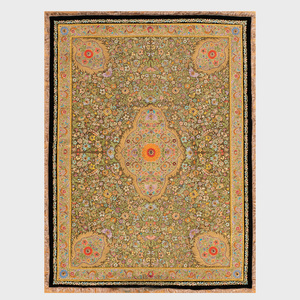 Indian Gold Thread Embroidered Velvet and Hardstone Rug, Mughal Style