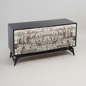 Piero Fornasetti Style Transfer Printed and Ebonized Dresser, of Recent Manufacture