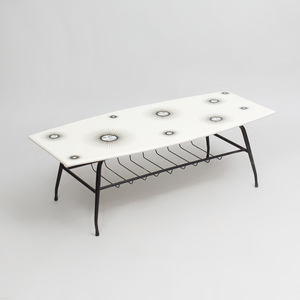Piero Fornasetti Style Transfer Printed and Painted Metal Coffee Table, of Recent Manufacture