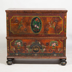 German Baroque Style Painted Tall Chest