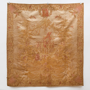 Machine Woven Commemorative Hanging of the Landing of Christopher Columbus, Possibly French, Gobelin