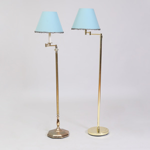 Two Similar Brass Floor Lamps