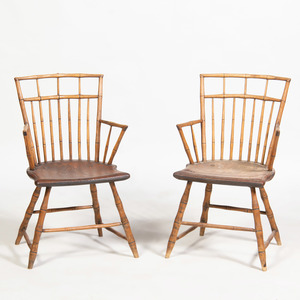Pair of Maple Birdcage Windsor Armchairs