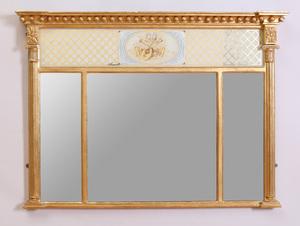 Regency Verre Églomisé and Giltwood Overmantle Mirror