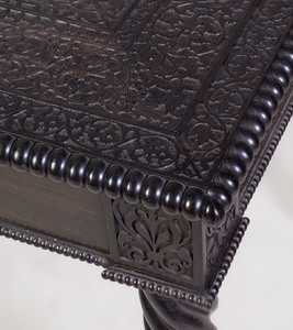Unusual Anglo-Indian Highly Carved Ebony Table