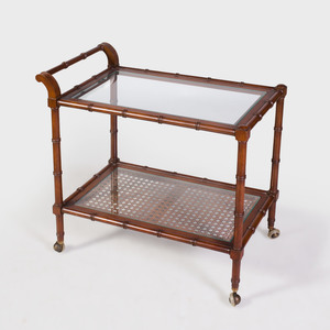 Modern Faux Bamboo and Glass Bar Trolley