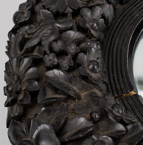 Unusual Anglo-Indian Floral Carved Ebony Mirror, Probably Ceylon