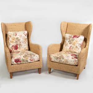 Pair of Woven Reed and Chintz Upholstered Wing Chairs