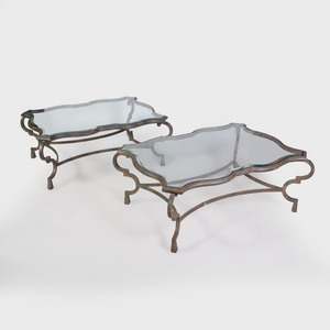 Pair of Modern Painted Metal and Glass Low Tables