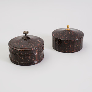 Two Swedish Porphyry Butter Boxes and Covers