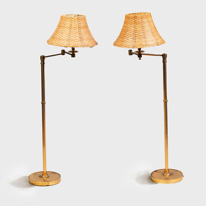 Pair of Brass Retractable Floor Lamps