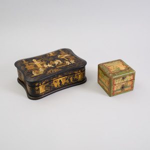 French Black Lacquer and Parcel-Gilt Box