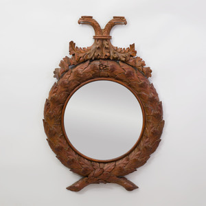 Continental Carved Mahogany Convex Mirror, in the English Taste