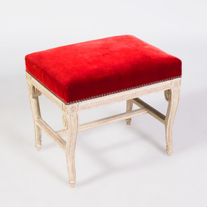 Louis XVI White Painted Tabouret, Stamped with a Tuileries Marque en Feu