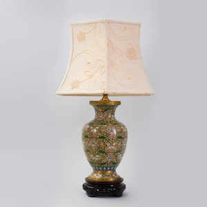 Chinese Gilt-Metal-Mounted Cloisonné Baluster-Shaped Lamp