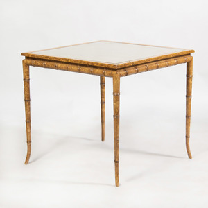 Modern Painted Faux Bamboo and Caned Card Table