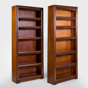 Pair of Modern Brass-Mounted Mahogany Bookcases, in the Manner of Maison Jansen