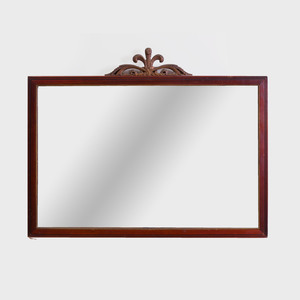 Continental Mahogany and Parcel-Gilt Overmantle Mirror