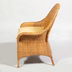 Set of Six Modern Woven Reed Armchairs