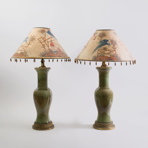 Pair of Chinese Celadon Crackle Glazed Porcelain Lamps, with Chinoiserie Painted Paper Shades
