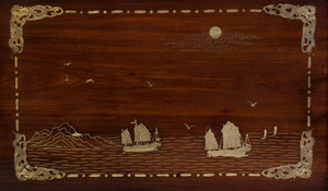 Chinese Export Pewter-Mounted Hardwood Tray