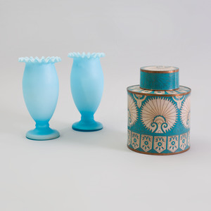 French Blue and White Cloisonné Covered Jar and a Pair of Pale Blue Opaline Vases