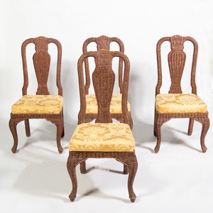 Set of Four Wicker Side Chairs