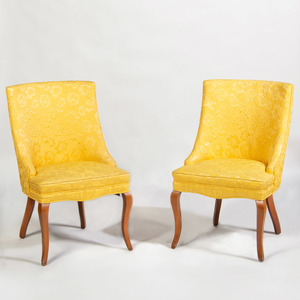 Pair of Vintage Damask Upholstered Dining Chairs