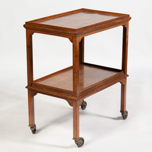 English Brass-Mounted Mahogany Two-Tiered Bar Cart