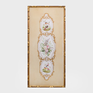 Continental Rococo Style Painted Porcelain Vertical Panel
