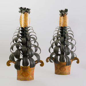 Pair of French Tôle Peinte Pineapple-Shaped Wall Lights