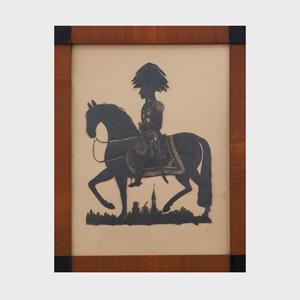 Danish Cut-Out Scherenschnitte; Equestrian of 'Frederick VII Konge af Denmark...1848'