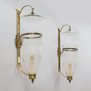 Pair of Regency Style Brass and Glass Sconces