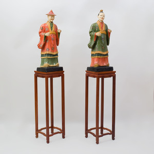 Pair of English Painted Composition Chinese Nodding Head Figures