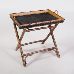 Bamboo and Wicker Folding Tray Table