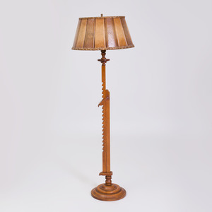 French Stained Oak Retractable Floor Lamp
